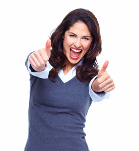 Woman smiling holding her thumbs up